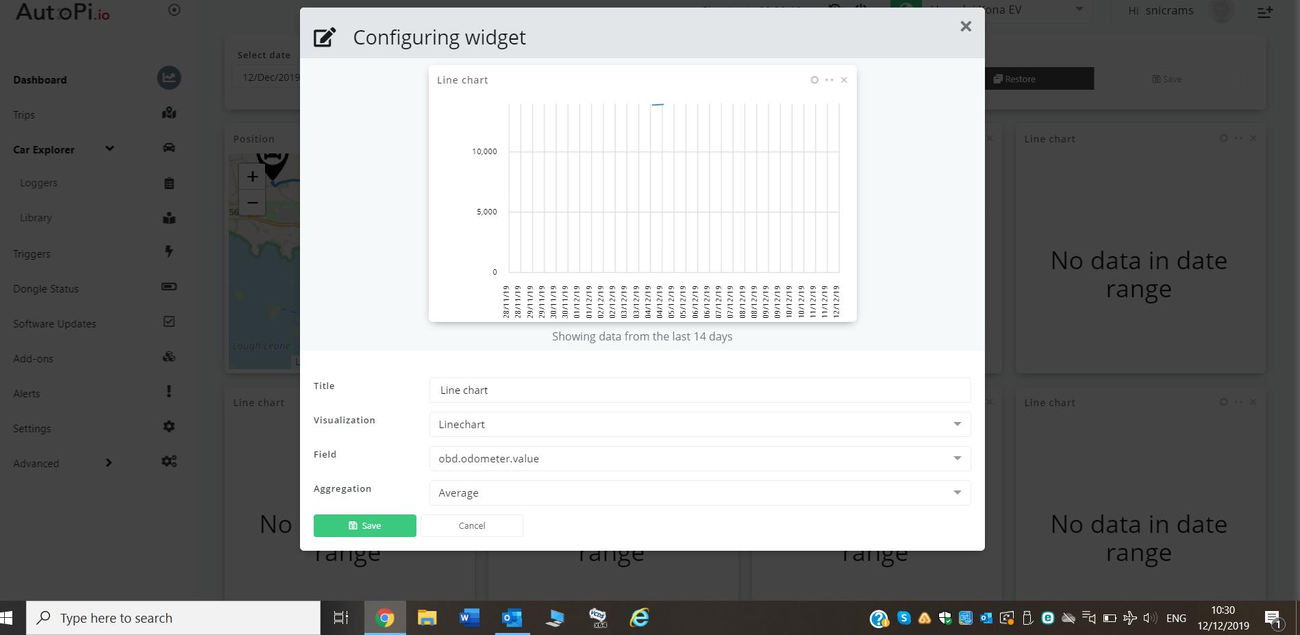 odometer widget no data anymore
